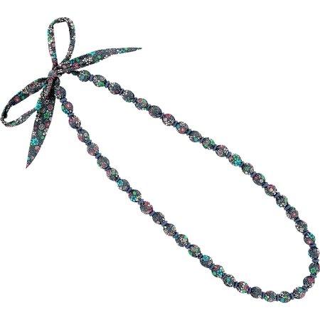 Collier sautoir perles milli fleurs vert azur