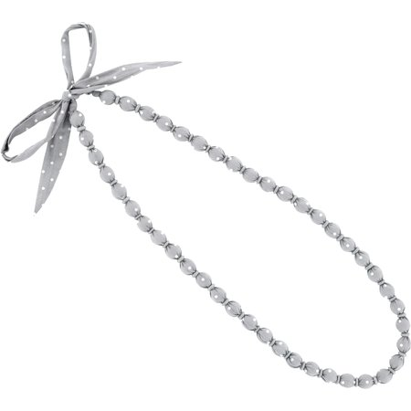 Collier sautoir perles pois gris clair