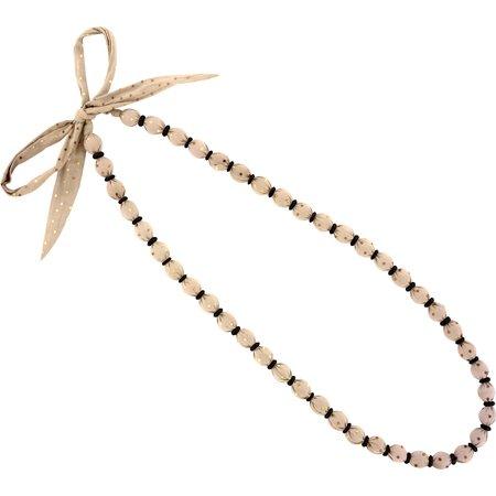 Collier sautoir perles pois cuivré rose