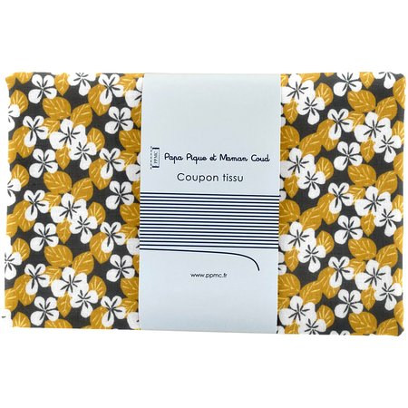 1 m fabric coupon fleurs moutarde ex1055