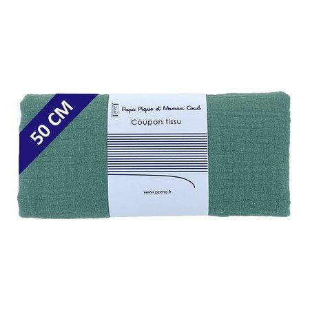 Coupon tissu 50 cm gaze vert sauge