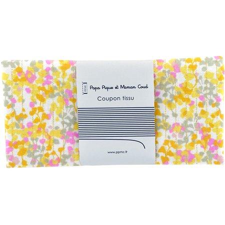 Coupon tissu 50 cm mimosa jaune rose