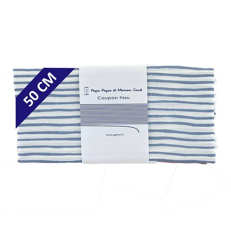 Coupon tissu 50 cm striped blue gray glitter