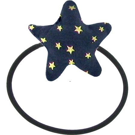 Pony-tail elastic hair star navy gold star