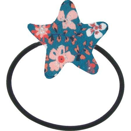 Pony-tail elastic hair star fleuri nude ardoise