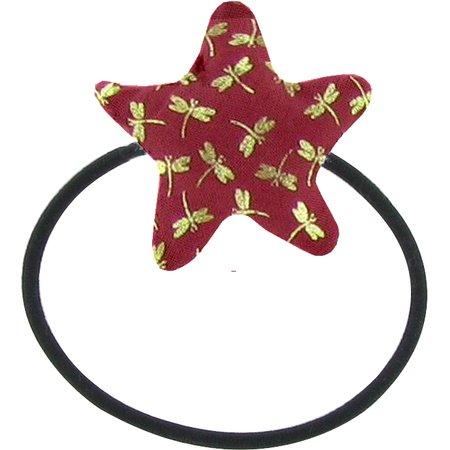 Pony-tail elastic hair star ruby dragonfly