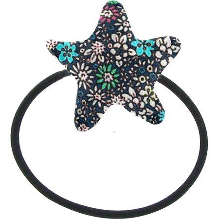 Elastique cheveux étoile milli fleurs vert azur