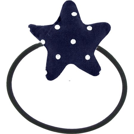 Pony-tail elastic hair star navy blue spots