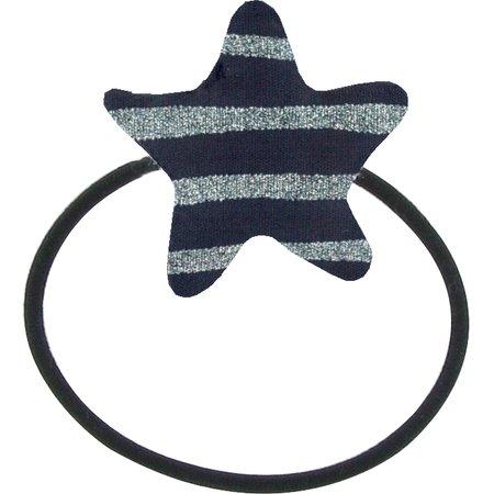 Elastique cheveux étoile rayé argent marine