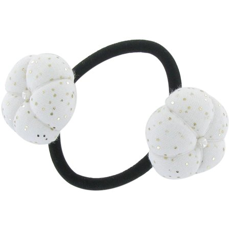 Japan flower pony-tail holder white sequined