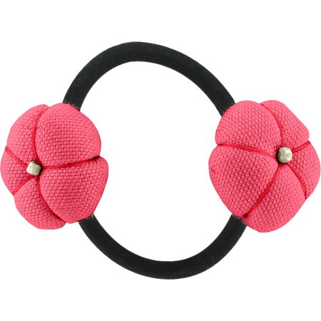 Japan flower pony-tail holder coral