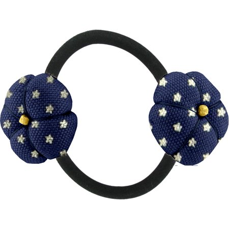 Japan flower pony-tail holder navy gold star