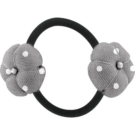 Japan flower pony-tail holder light grey spots