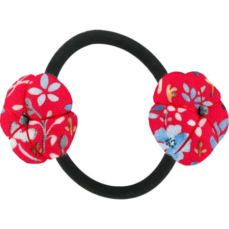 Goma de pelo con flores aciano cherry
