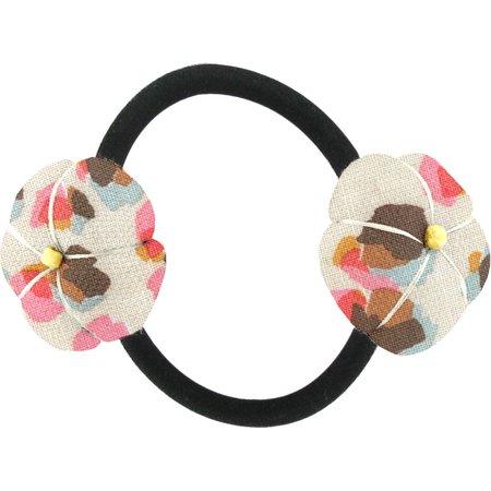 Goma de pelo con flores confetti aqua