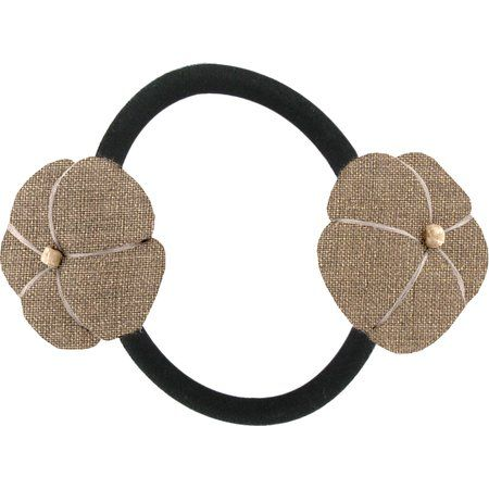Japan flower pony-tail holder gold linen