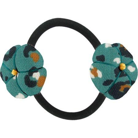 Elastique fleur du japon panthère jade