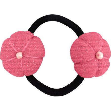 Elastique fleur du japon rose pailleté