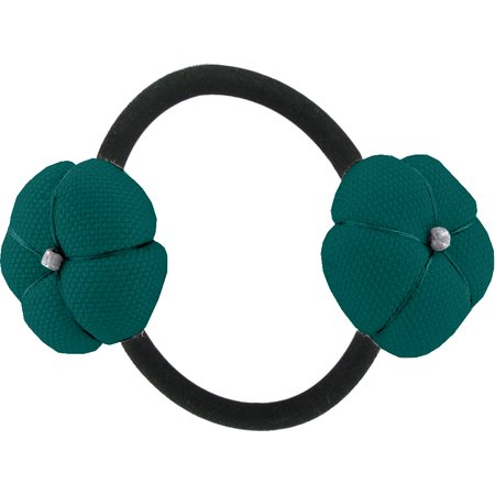 Japan flower pony-tail holder emerald green