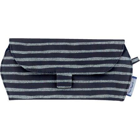 Glasses case striped silver dark blue