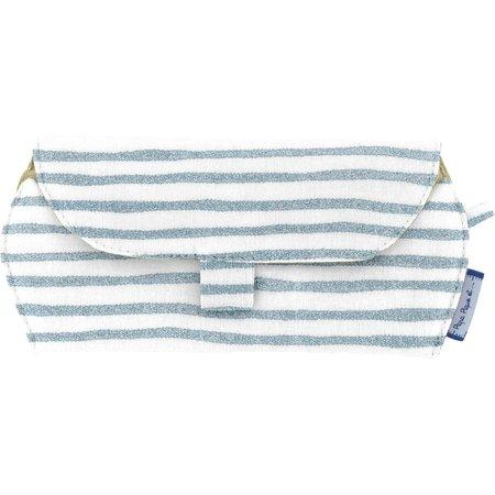 Glasses case striped blue gray glitter