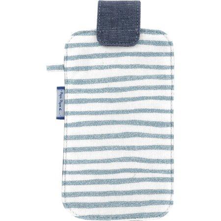 Phone case striped blue gray glitter