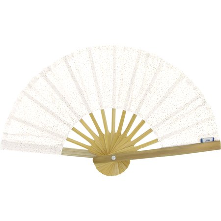 Hand-held fan white sequined