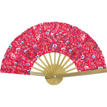 Hand-held fan cherry cornflower