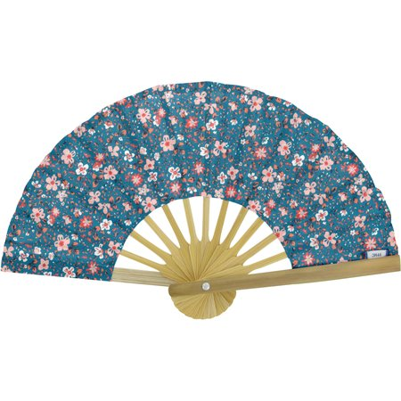 Hand-held fan fleuri nude ardoise