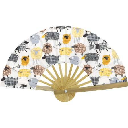 Hand-held fan yellow sheep