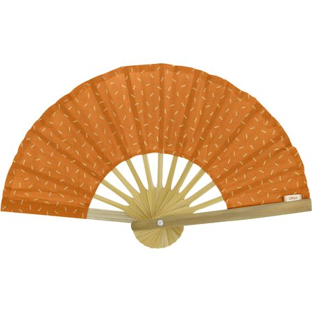 Hand-held fan caramel golden straw