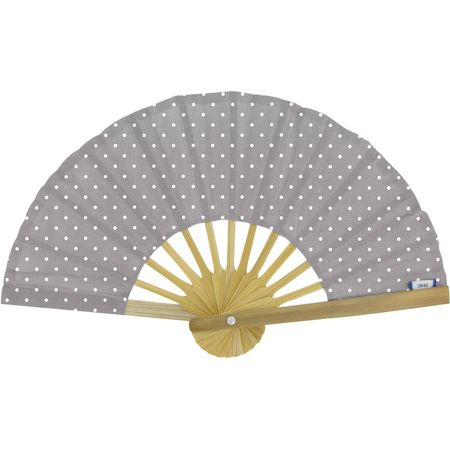 Hand-held fan light grey spots