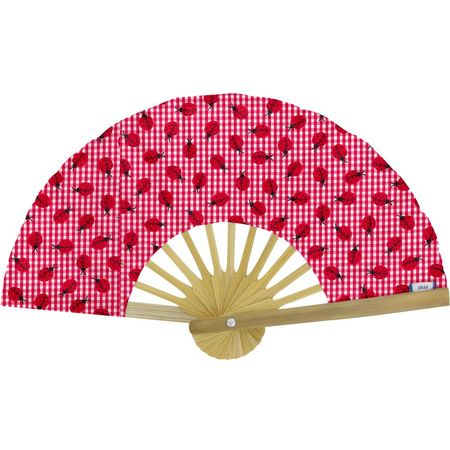 Hand-held fan ladybird gingham