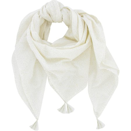 Pom pom scarf white sequined