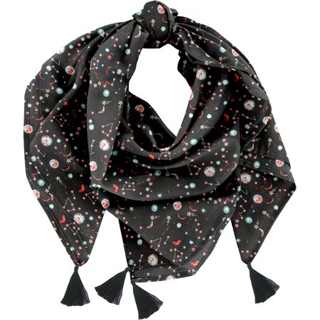 Foulard pompon constellations