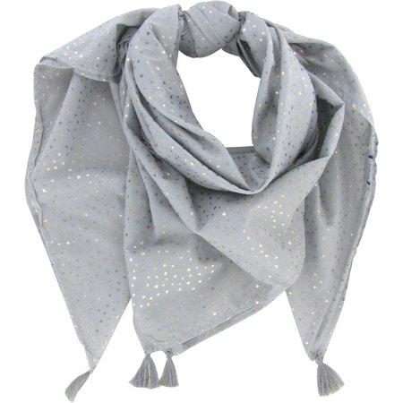 Foulard pompon etoile or gris