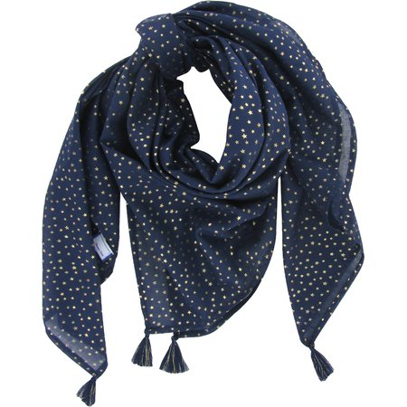 Pom pom scarf navy gold star