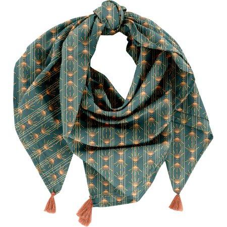 Foulard pompon eventail or vert