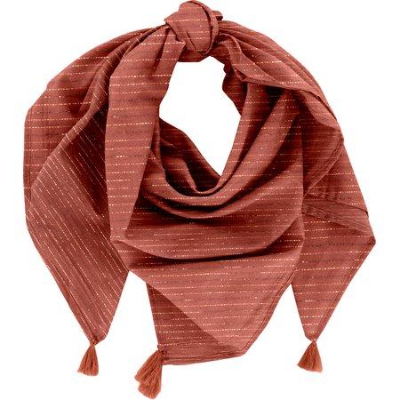 Pom pom scarf lurex terracotta gauze