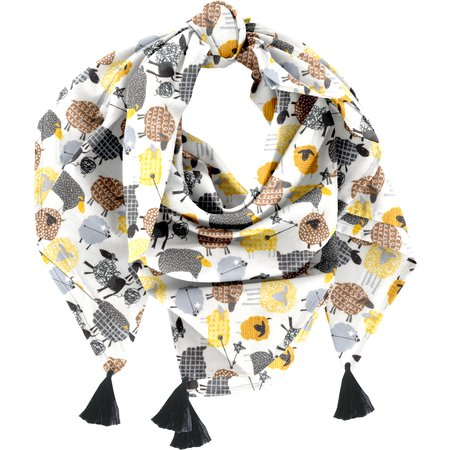 Pom pom scarf yellow sheep