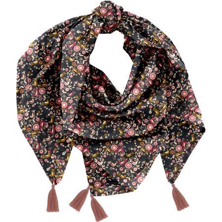 Pom pom scarf ochre bird