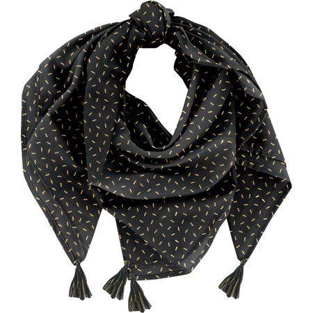 Foulard pompon  paille dorée noir