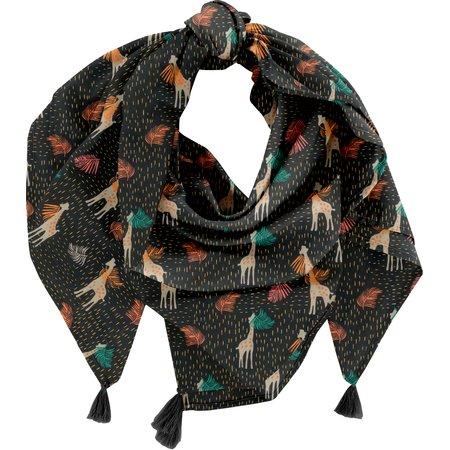 Foulard pompon palma girafe