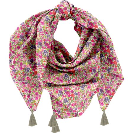 Pom pom scarf purple meadow