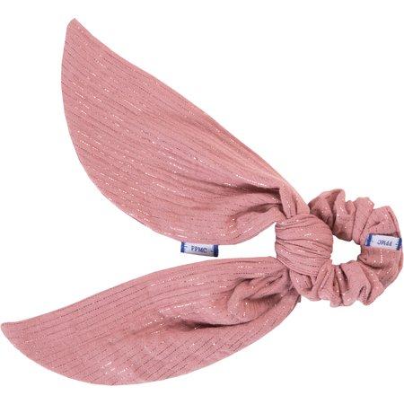 Short tail scrunchie dusty pink lurex gauze