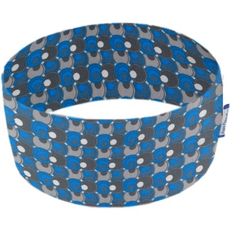 Stretch jersey headband  ronds bleus gris