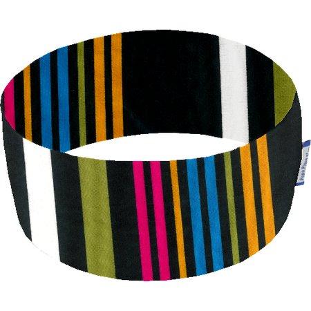 Stretch jersey headband  j rayé noir fuchsia jaune
