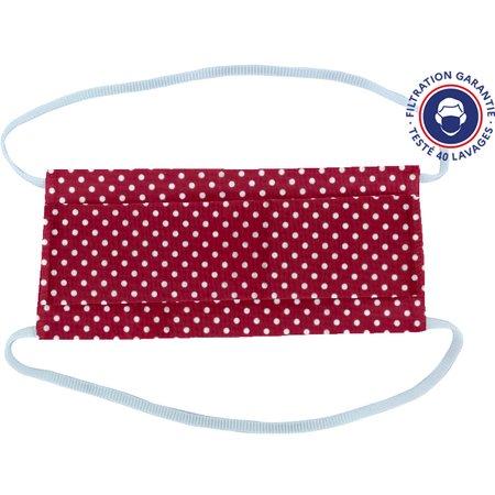 Masque Tissu Enfant pastille blanc rouge ex998