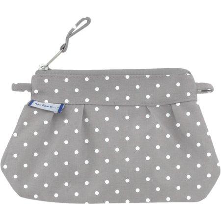 Mini Pleated clutch bag light grey spots
