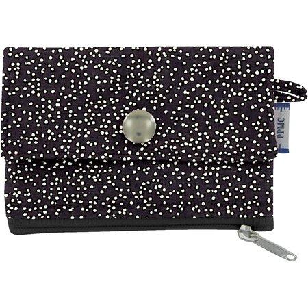 zipper pouch card purse noir pailleté